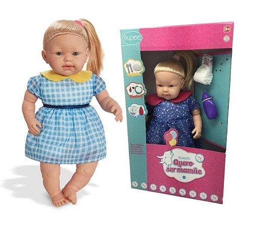Boneca Bebe Menina Linha Quero Ser Mamãe XIXI 1162 Pupee