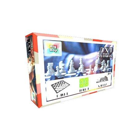 Jogo de Tabuleiro 3x1 Dama, trilha e xadrez