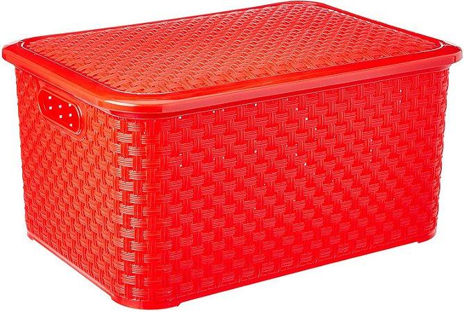 Caixa Organizadora Rattan Com Tampa 27 Litros Vermelho