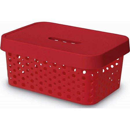 Caixa Organizadora Rattan C/ Tampa 4,5L Vermelho Usual 517