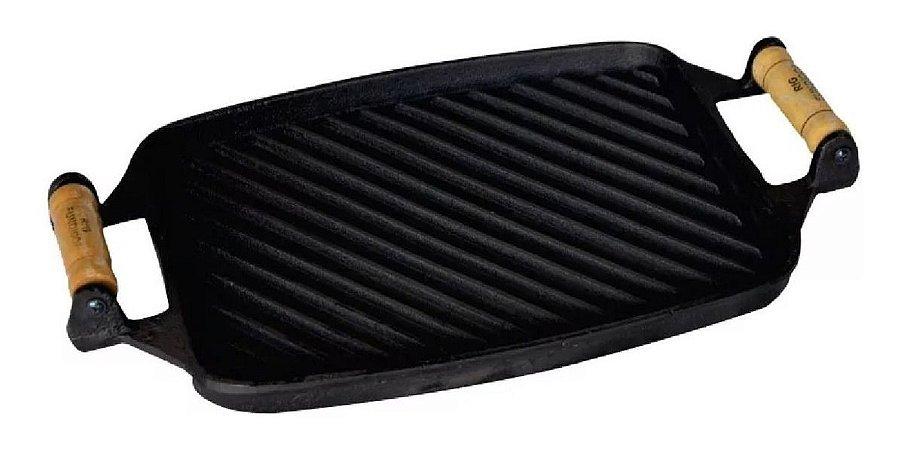 Chapa Bifeteira Frisada Em Ferro Fundido 24x30,5cm Rig