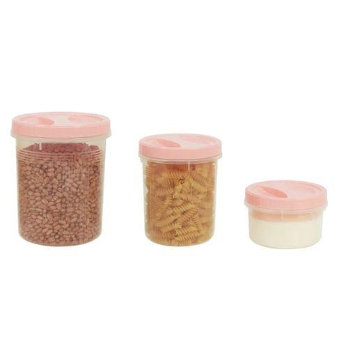 Kit Com Três Potes De Rosca Para Alimentos Colors Uninjet