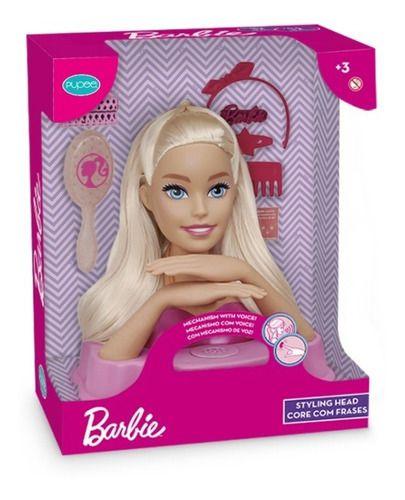Boneca Infantil Barbie Busto Styling Head Com Frases Pupee