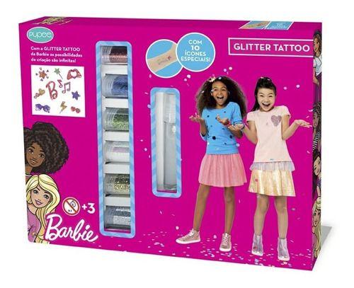 Kit Maquiagem Glitter Tattoo Da Barbie Com Acessórios Pupee