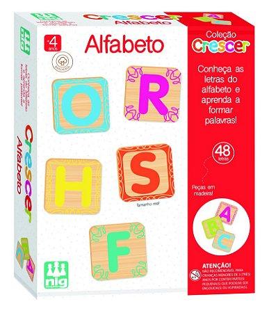 Brinquedo Educativo Alfabeto em Madeira 48 letras 0450 Nig Brinquedos