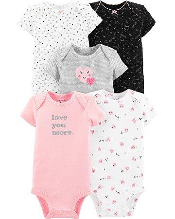 5-Pack Heart Original Bodysuits Carter's Menina - Carter's (Tam. 12-18 meses)