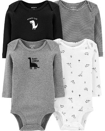 Bodysuits originais de dinossauros com 4 unidades Carter's (tam. 6-9 meses) Meninos