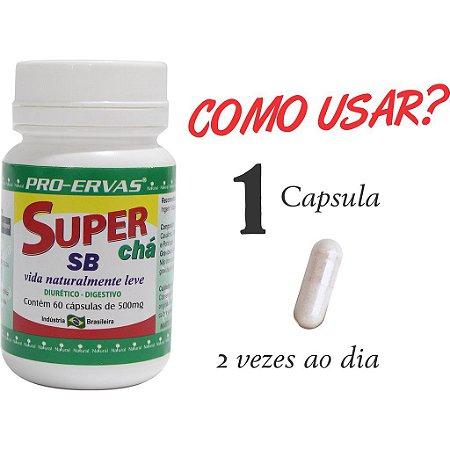 SUPER CHÁ SB EMAGRECEDOR 500MG 60 CÁPSULAS - PRÓ ERVAS