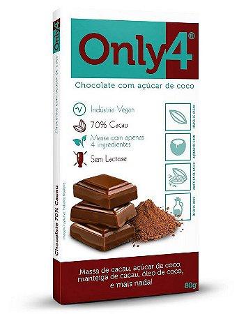 CHOCOLATE 70% DE PURO CACAU 80G - ONLY4