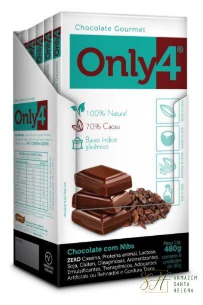 DISPLAY CHOCOLATE 70% E NIBS DE CACAU 80G - ONLY4 (6 UNIDADES)