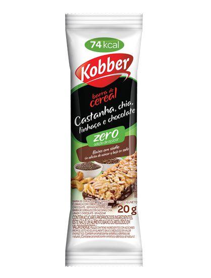 BARRA DE CEREAIS ZERO CASTANHA, CHIA, LINHAÇA E CHOCOLATE 20G - KOBBER