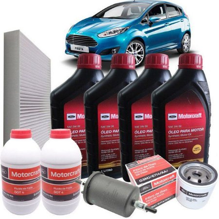 kit troca de óleo ford ka motorcraft 5w20 + 4 filtros