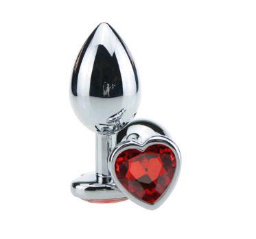 Plug Anal Luxo em Metal de Pedra Coração Vermelho