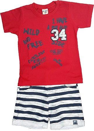 Conjunto Infantil menino de camiseta em algodão e bermuda de moletom ... 253a2f201e113