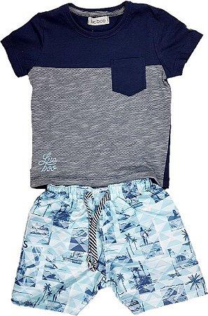 Conjunto Infantil menino de camiseta em Malha azul e Bermuda de Nylon  estampada branca e azul 831792f443550