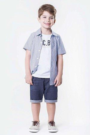 Conjunto Infantil menino 3 peças com camisa tricoline listrado ... 694c126f5e3e9
