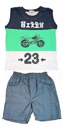 9687d5d1f Conjunto Infantil menino de regata machão estampa moto com bermuda tactel  chumbo