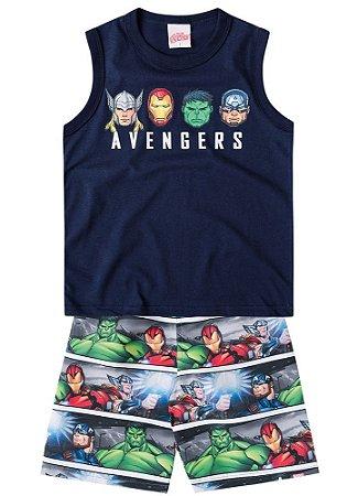 Conjunto Infantil Avengers de Regata marinho e bermuda em nylon estampada 0db74a6e855