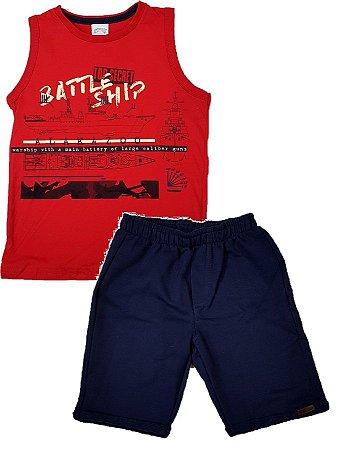 Conjunto infantil regata vermelha em algodão e bermuda em moletom azul e0ecd66f7a2