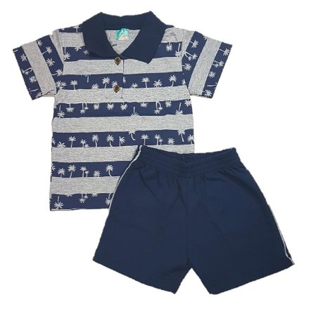82fb3efbd Conjunto Infantil menino de Pólo e bermuda em moletinho azul ...
