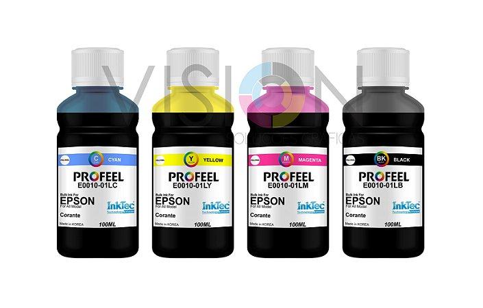 4 Frascos de 100ML de Tinta Corante Inktec Profeel Epson