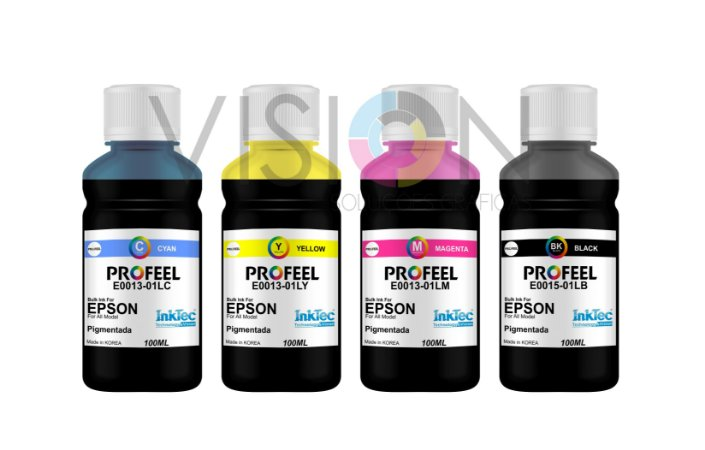 4 Frascos de 100ML de Tinta Pigmentada Inktec Profeel Epson