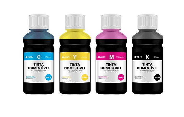 4 Frascos de 100ML de Tinta Comestível Para Papel Arroz Epson