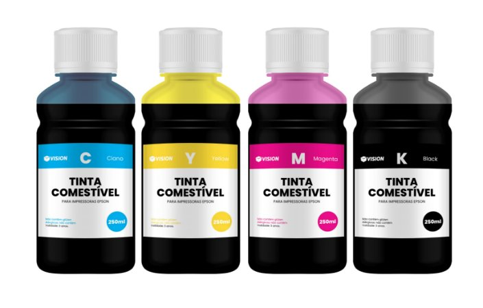 4 Frascos de 250ML de Tinta Comestível Para Papel Arroz Epson