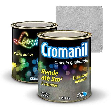 KIT 1 Cimento Queimado lata  1/4  + Verniz Acrílico lata  900ml  - Cor NUVENS DE CHUVA