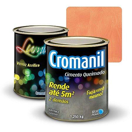KIT 1 Cimento Queimado 1 lata 1/4  + 1 Verniz lata  900ml  - Cor TERRACOTA