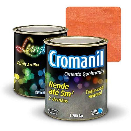 KIT 1 Cimento Queimado 1 lata 1/4 (1.250kg)  + 1 Verniz lata  1/4 (1.250kg) - Cor ENFERRUJADO