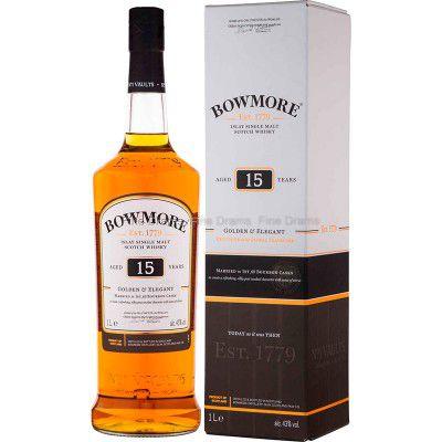 Whisky Bowmore 15 Anos - Golden & Elegant - Islay Single Malt - 1000ml