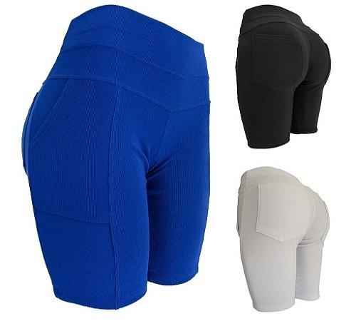 Bermuda Shorts Ciclista Feminino Com 4 Bolsos Tecido Confortável