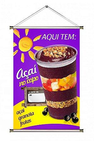 Banner para vender Açaí no Copo com Frutas - 60x90cm