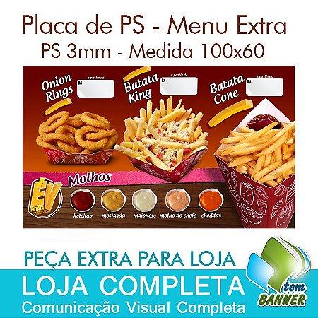 Placa Extra para Loja de Batata Frita - 100x60cm