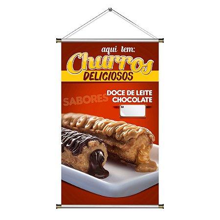 Banner de Churros - Doce de Leite e Chocolate - 60x100cm