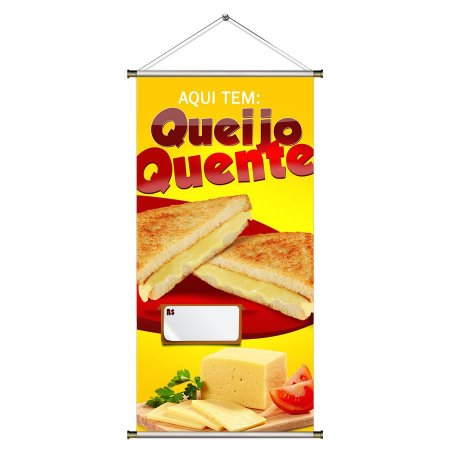 Banner de Queijo Quente com Foto - 50x100cm