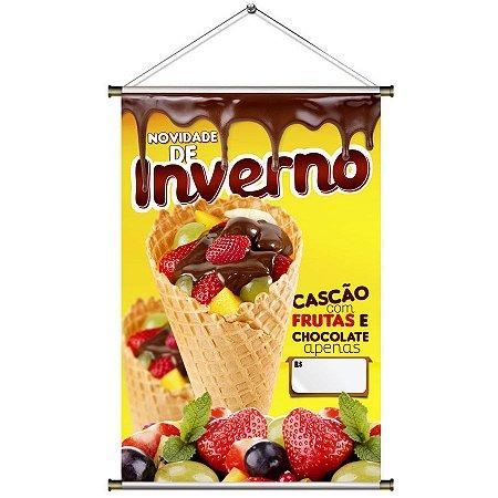 Banner para Vender Cascão com Frutas e Chocolate - 60x90cm