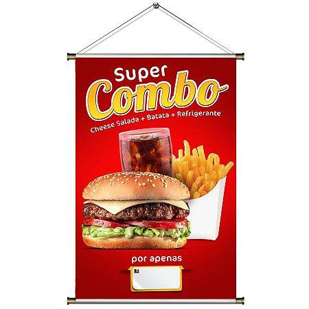 Banner para Vender Combo de Lanche (x-salada, batata frita e refrigerante) - 60x90cm
