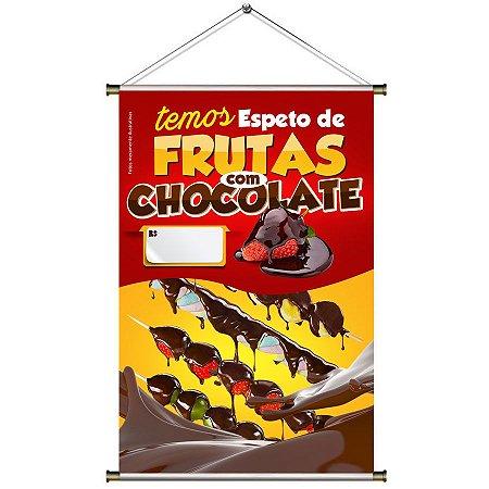 Banner para Vender Espeto de Frutas com Chocolate - 60x90cm
