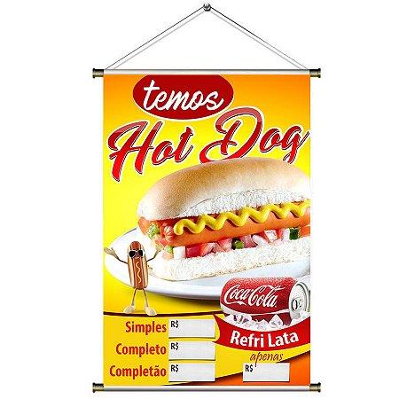 Banner de Hot Dog e Refrigerante de Lata - 60x90cm