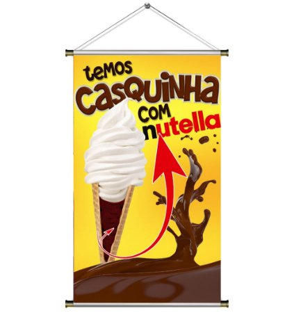 Banner para Vender Casquinha de sorvete com Nutella - 60x100cm
