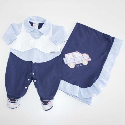 0a98a85ccfb90 Saída de Maternidade Menino Azul Marinho 2 Pçs - Fofinho
