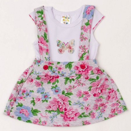3d7120cbcc Conjunto Infantil Menina Blusa e Jardineira Saia Floral Mescla - Fantoni