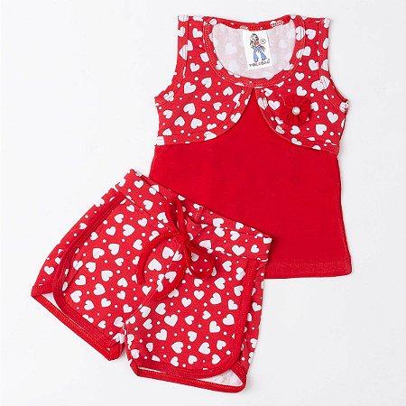Conjunto Infantil Menina Coração Vermelho - Polegar Kids  f4f35a0313516