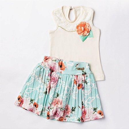 Conjunto Menina Floral Strass Bege Esmeralda - Pic Nic  97b0434638e