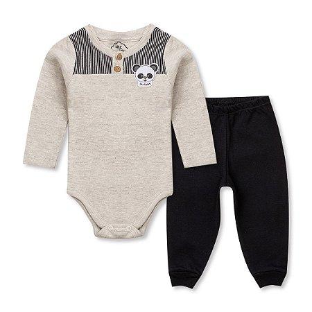 8ebc2eb54c45 Conjunto Bebê Menino Body Manga Longa Panda Mescla e Saruel Preto - IAZ