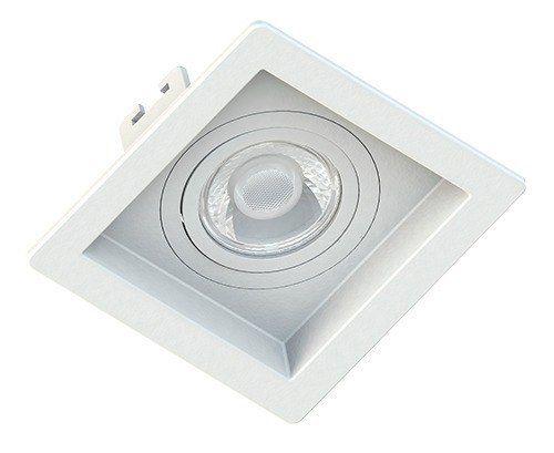 Kit c/ 10 Spot Quadrado Branco Fundo Recuado C/lâmpada Dicroica Led