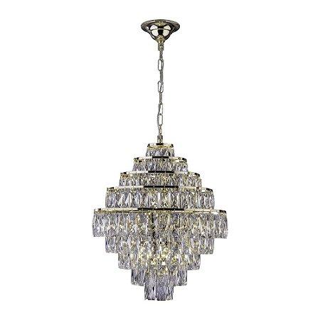 Lustre de Cristal Florença Belle 45cm Dourado com Cristal Transparente Startec