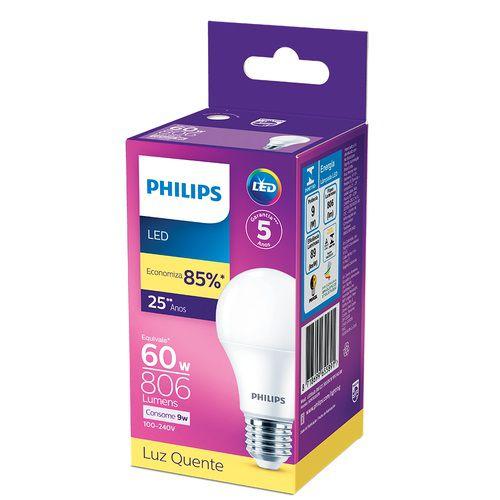 Lâmpada LED 9W Branco Quente 3.000K 806 Lúmens Philips
